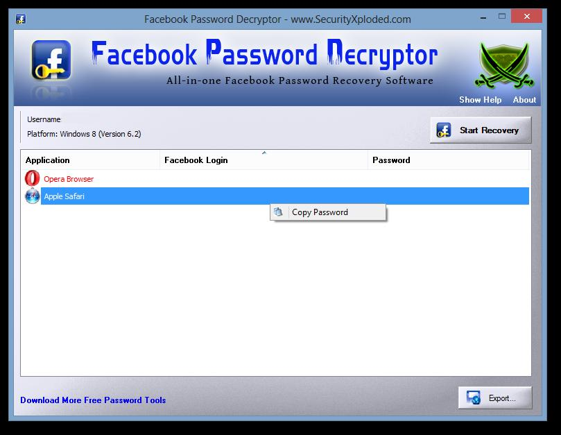 Facebook Password Decryptor 0